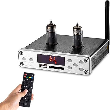 Nobsound HiFi 6K4 Vacuum Tube Preampli sans Fil Audio Hi FI Stereo Preamp, Remote Control, Bluetooth, U Disk, SD Card, 3.5mm AUX, RCA Inputs Préampli