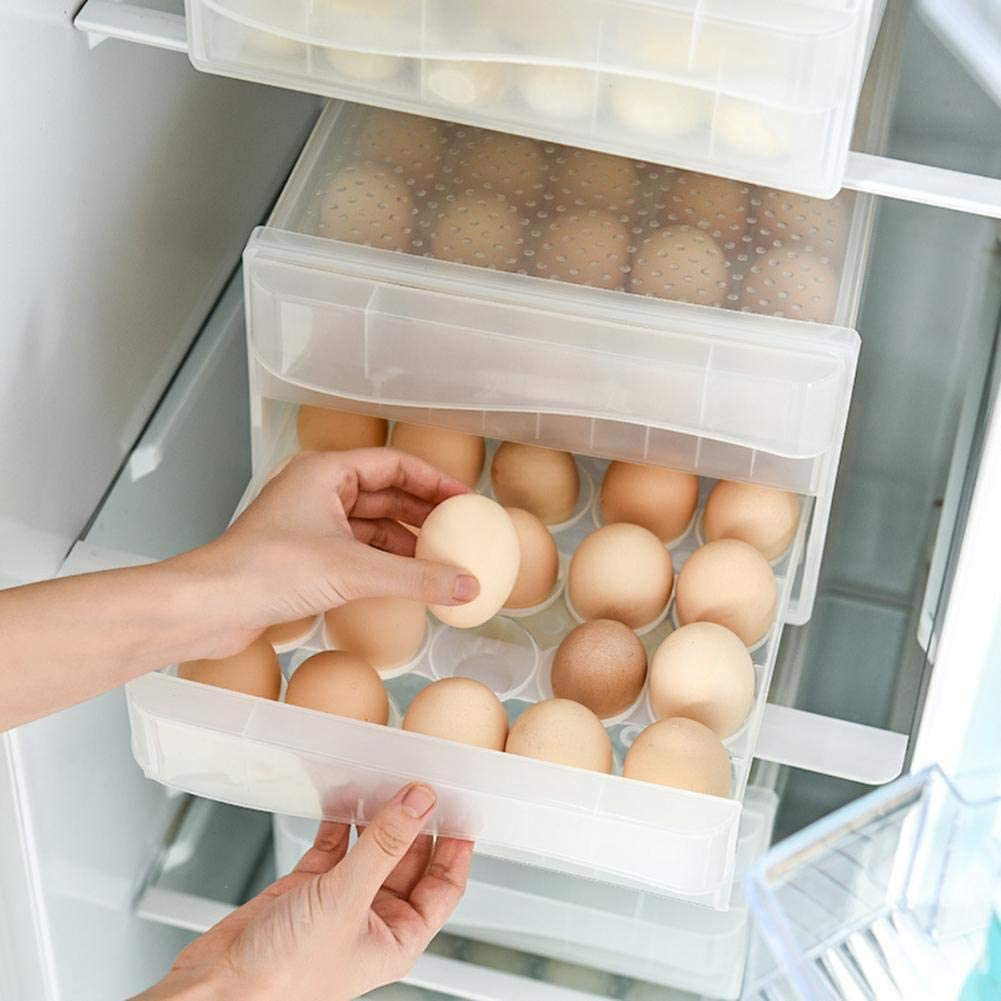Stackable Plastic Egg Storage Container Household Drawer Type Egg Storage Bin With Lid for Kitchen 32 Grid, Double Layer Egg Holder for Refrigerator
