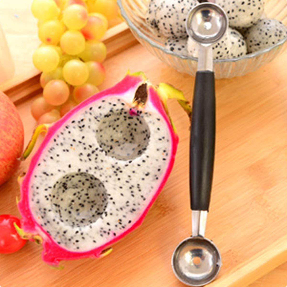 Creativo casa Mini sfera di frutta cucchiaio cucchiaio del gelato melone cucchiaio in acciaio inox//plastica Multi Tool funzione Kitchen Nero