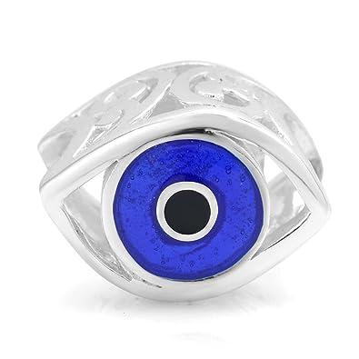 b7944fac0 925 Sterling Silver Blue Enamel Evil Eye Bead Charm Fits Pandora Bracelet:  Amazon.co.uk: Jewellery