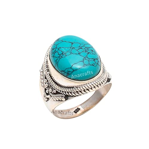 Turquoise Ring Sterling Silver 925 For Girl Women Size US 7