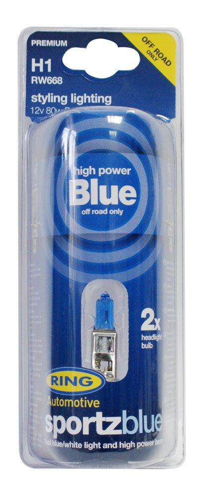 Ring Automotive RW668 H1 P14.5s Sports Blue Halogen Headlamp Off-Road, 12 V, 80 W Ring Automotive Ltd.