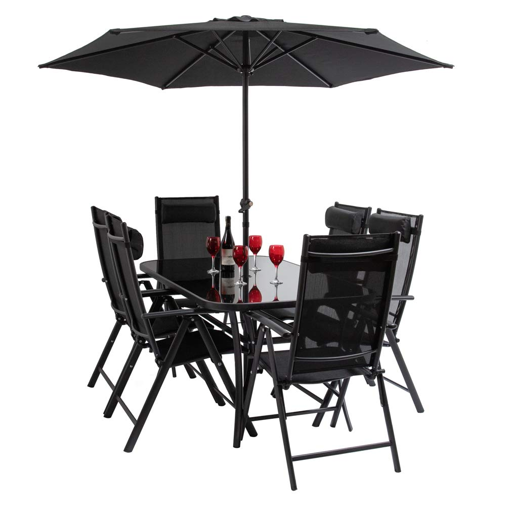 HECTARE Kennet Reclining 6 Seater Polytex Patio Dining Set (Black)