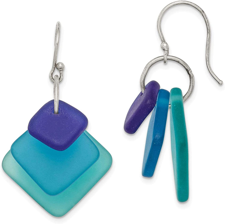 925 Sterling Silver Polished Blue Gradient Sea Glass Dangle Earrings