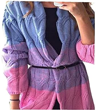 Endand New Winter Autumn Women Sweater Cardigans Patchwork Long Thicken  Colorful Coat Blue One Size 8cde55bf3