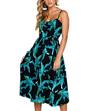 Amenie Womens Bohemian Floral Dress Spaghetti Strap Buttons Down Midi Dresses with Pockets (Small,