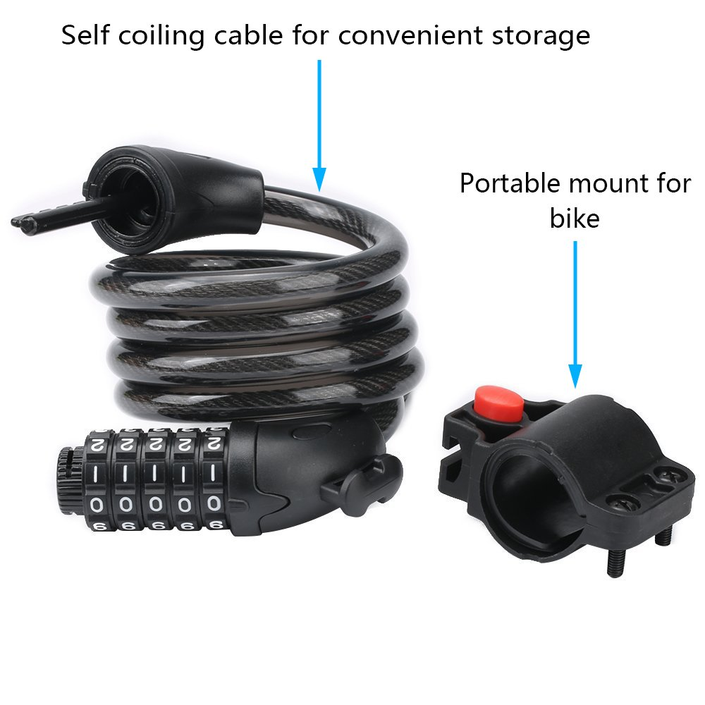 Security Bike Lock Combination Resettable With 5 Digital Code,4 Feet Self Coiling Cable Bike Lock For Mountain Or Road Bike With Complimentary Mounting Bracket