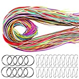 160 Pcs Scoubidou Strings Plastic Lacing Cord Craft Gimp String with 30 Pcs Snap Clip Hooks and Keychain Ring Clips Gimp String for DIY Craft (16 Colors, 525 Feet)