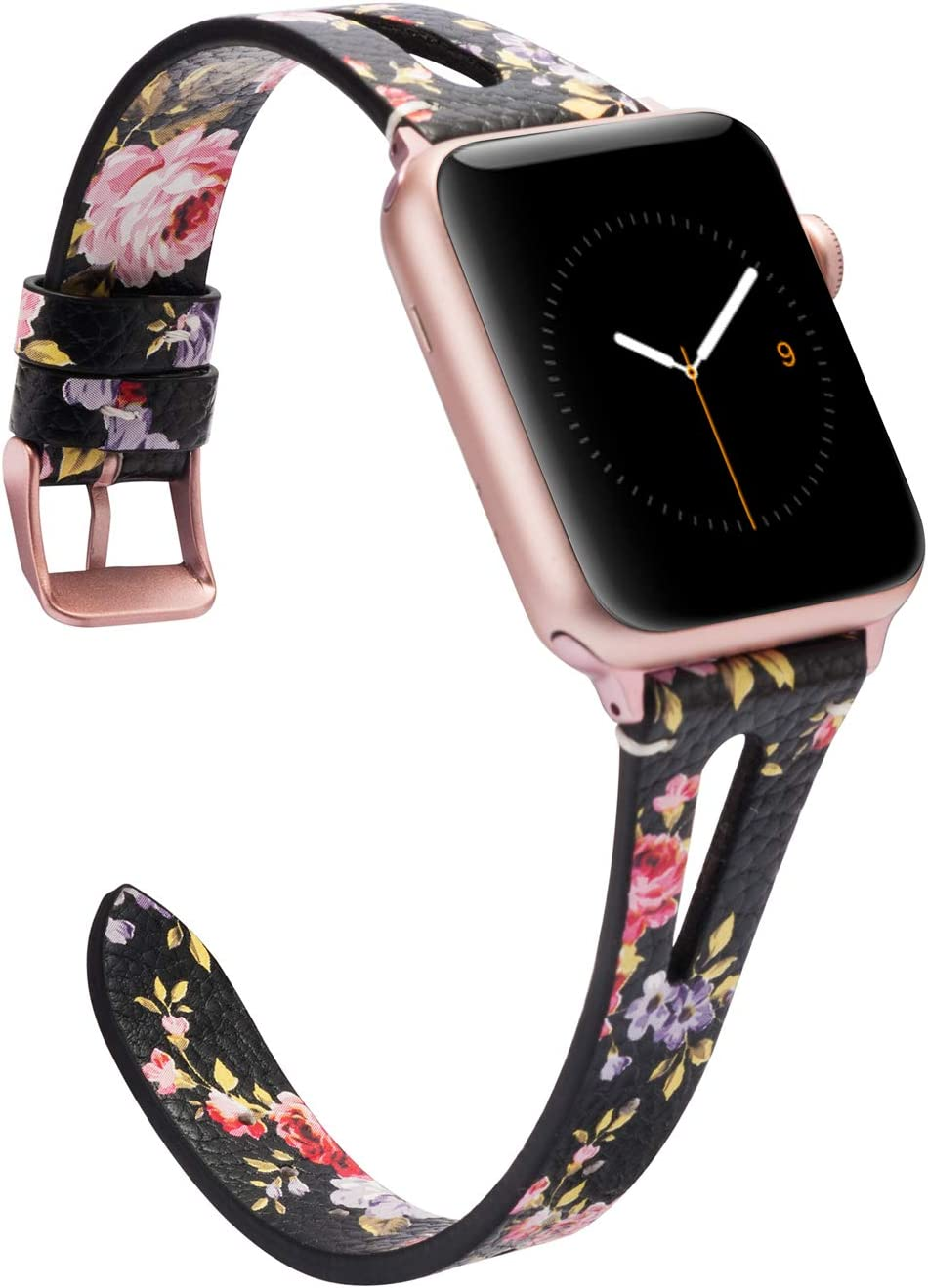 Wearlizer Leather Floral Compatible with Apple Watch Bands 42mm 44mm for iWatch SE Womens Mens Breathable Straps Wristband Cool Triangle Hole Replacement (Rose Gold Buckle) Series 6 5 4 3 2 1