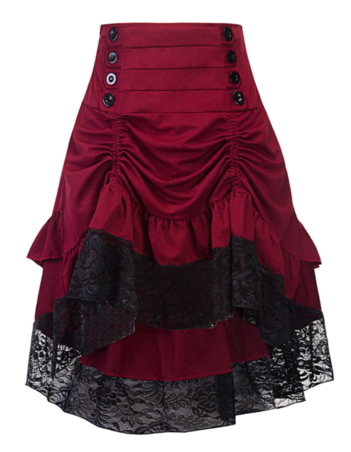Burvogue Steampunk Skirt,Women Multi Layered Gothic High Low Skirt Vintage Outfits 3