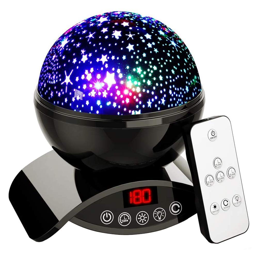 Elecstars Baby Night Light, 360 Degree Rotating Star Projector, Remote Control and Timer Design Projection Lamp, Unique Gifts for Men Women Kids Best Baby Gifts - Black