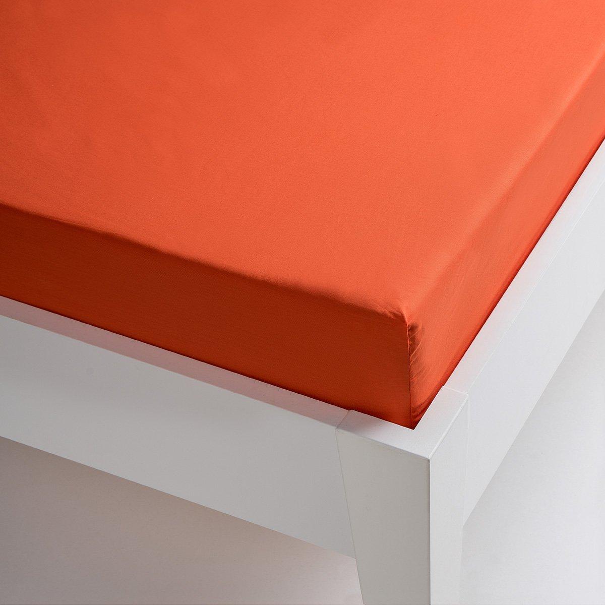 Sancarlos - Sábana bajera , 100% Algodón percal, Color naranja, Cama de 150