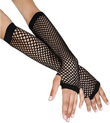 Fingerless Costume Party Goth Punk Rock Fancy Dress Different Colours Available Dojore One Pair of Mesh Fishnet Gloves