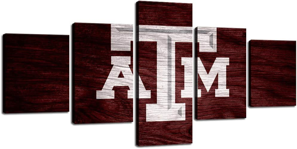 Texas A&M Wall Decor Art Paintings 5 Piece Canvas Picture Artwork Living Room Prints Poster Decoration Wooden Framed Ready to Hang [50