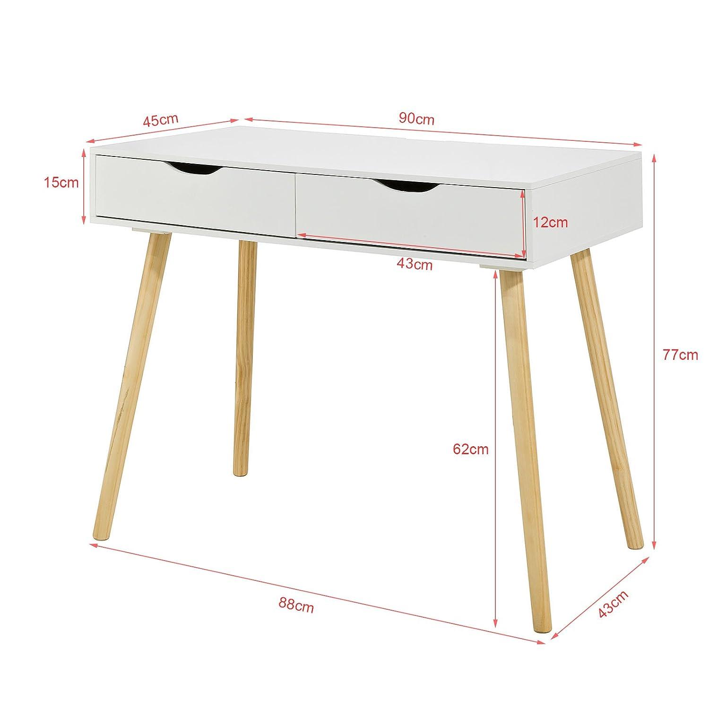 Sobuy Fwt40 Wn Table De Bureau Informatique Secr Taire Table Plan  # Secretaire Scandinave Rangement Multi Taille