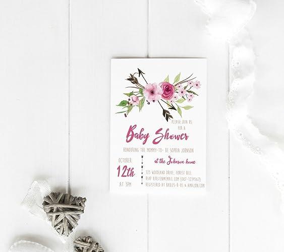 amazon com boho baby shower invitations girl baby shower invites