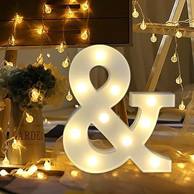 Light Up Letters,SMYTShop Warm White LED Letter Light Up Alphabet Letter Lights for Festival Decorative Letter Party Wedding (&)