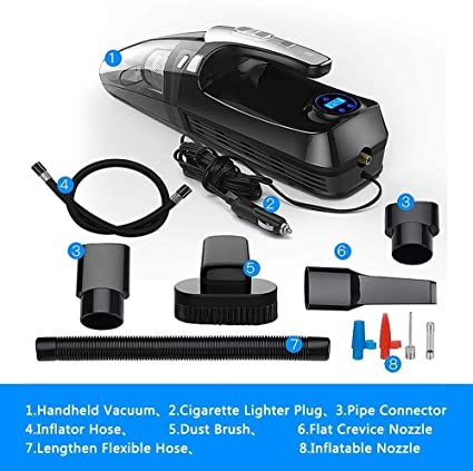 Aspiradora 4-en-1 coche aspiradora portátil ligero aspirador con neumáticos digital de la bomba for inflar con aire Indicador de presión LED for el hogar del coche auto LINABIND (Color : Black): Amazon.es:
