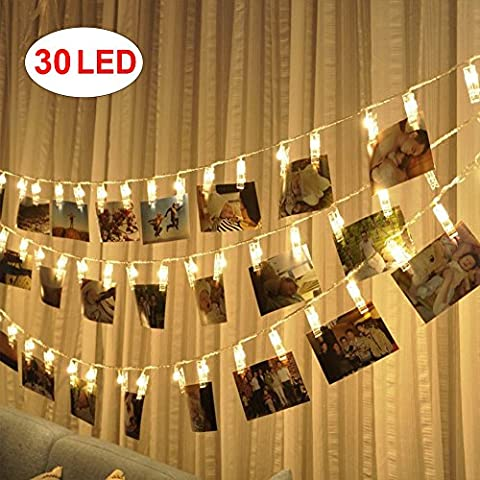 AOSHR 30 Led Photo Clips String Lights (12 Ft, Warm White) for Hanging Photos Paintings Pictures Card and Decor Wedding Party - 30 White Clips