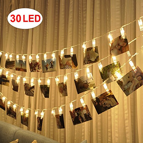 AOSHR 30 Led Photo Clips String Lights (12 Ft, Warm White) for Hanging Photos Paintings Pictures Card and Decor Wedding Party Christmas (Led Photo)
