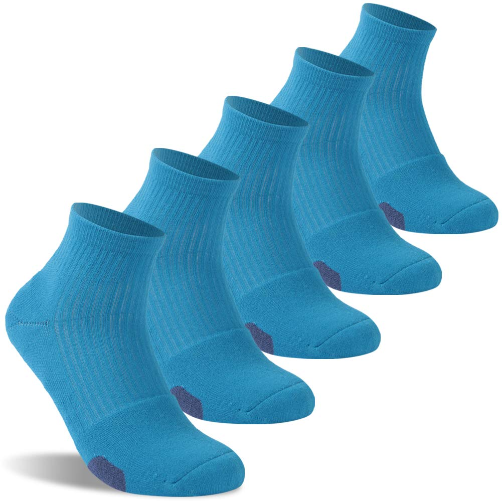 Mens Travel Socks Quick Dry, diwollsam Non-slip Cotton Casual Outdoor Basketball Tennis Running Ankle Crew Socks, One Size(5 Pairs, Blue)