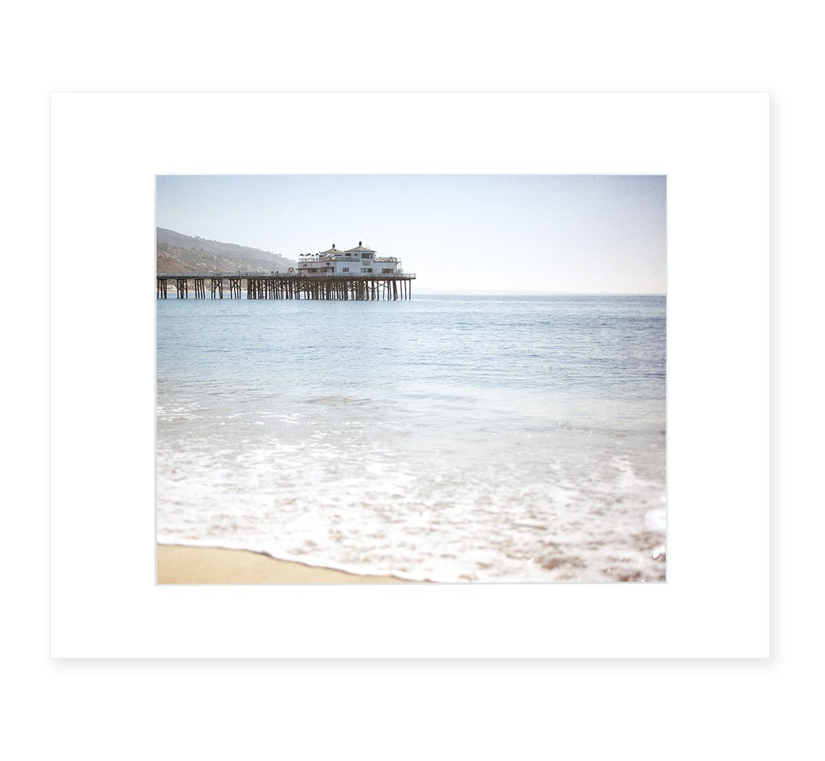 Malibu Beach Wall Art, California Coastal Landscape Decor, 8x10 Matted Photographic Print (fits 11x14 frame), 'Malibu Pier'