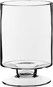 """CYS EXCEL Glass Candle Holders, Hurricane Candle Holder, Trifle Dessert Tray, Stemmed Candle Holder (Series (1) 3.75"""" Wide x 6"""" Tall)"""