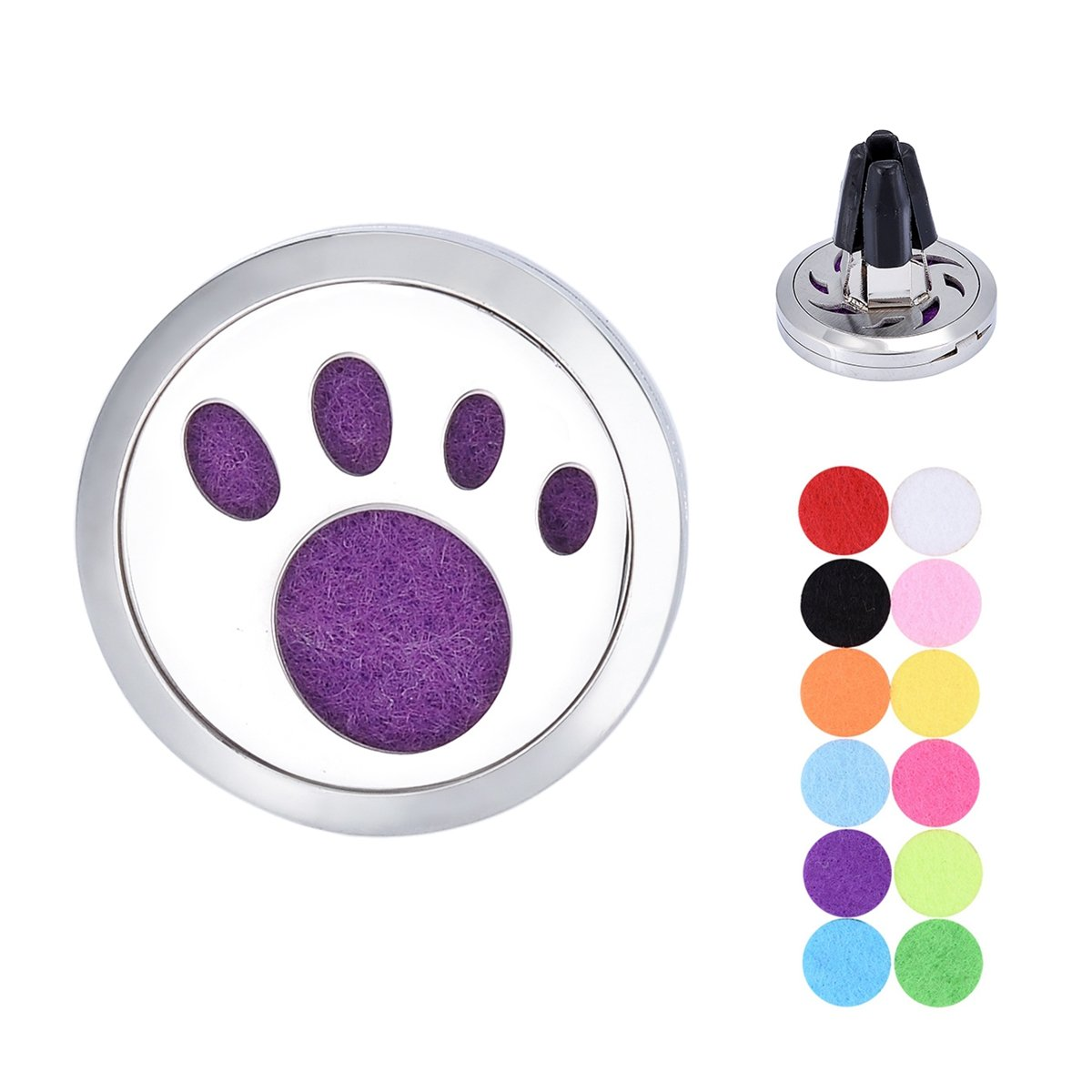 Pet Pawprint Car Air Freshener Aromatherapy Essential Oil Diffuser Vent Clip Stainless Steel Locket with 11 Felt Pads