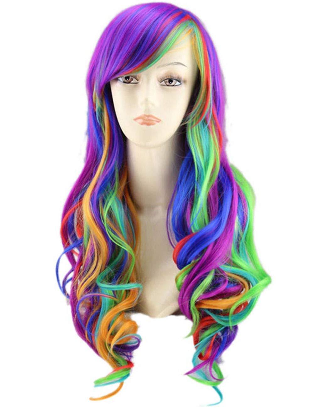 "TopWigy Women Anime Cosplay Wig Rainbow Wigs Long Curly Wave Harajuku Style Rainbow Hair Party Costume Lolita Wig (Rainbow 26"")"