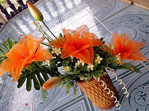 Orange tulips Made of Cherry nylon fabric (Yaibua) with Vases adorned 1 set