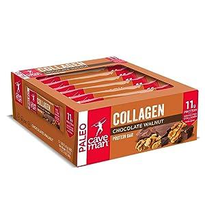 Caveman Foods Collagen Chocolate Walnut Protein Bar, 12 Count