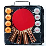 IntegraFun Pro Ping Pong Paddle – Set of 4 Table Tennis Rackets – 8 Competition balls – Paddle Case Ergonomic Grip – High Bounce Sponge- Eco-Friendly– Family Games – Recreational Games