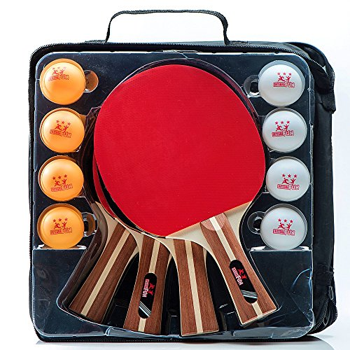 IntegraFun Pro Ping Pong Paddle – Set of 4 Table Tennis Rackets – 8 Competition balls – Paddle Case Ergonomic Grip – High Bounce Sponge- Eco-Friendly– Family Games – Recreational Games by IntegraFun