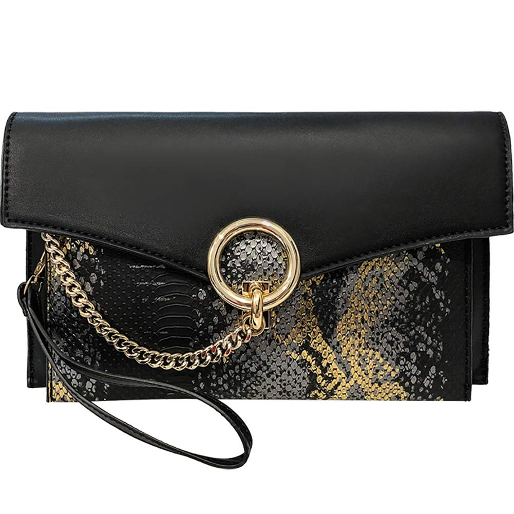 Pretty Clutch Purses for Women, Classic Snakeskin Envelope Bag - Fashion Leather Handbag with Chain for Wedding Party Prom (black-1)