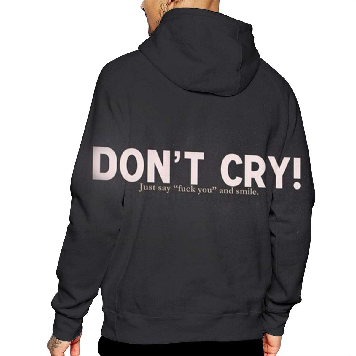 Dont CRY T-Shirt Hooded with A Pocket Rope Hat Customization Fashion Novelty 3D Mens