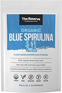 The Reserve Organic Blue Spirulina Powder and Plant Based Superfood Supplement for Memory and Immune Boost (1 oz)