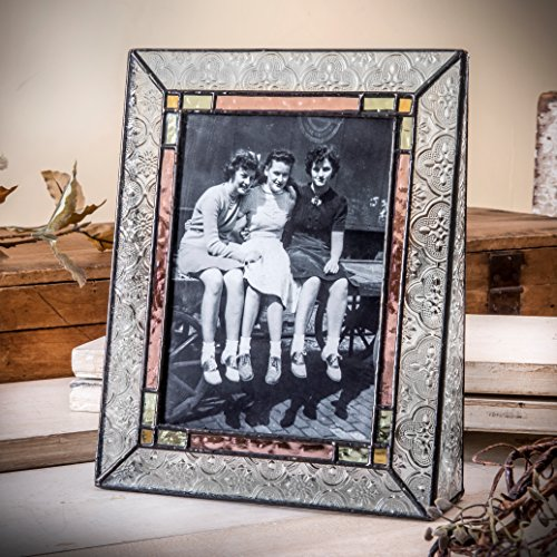 J Devlin Pic 137-57V Vintage Stained Glass Picture Frame 5x7 Vertical Photo Frame Multi Colored Decorative Keepsake Gift