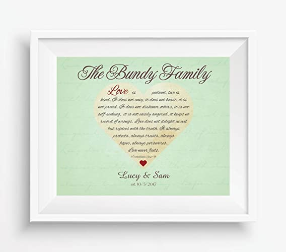amazon com personalized 1 corinthians 13 4 8 bible verse art print