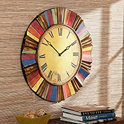 Large Multicolor Wall Clock with Roman numerals