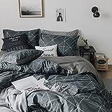 Grey Plaid Duvet Cover Set King Vintage Geometric Duvet Cover Set Luxury Reversible Bedding Set Brushed Microfiber Duvet Comforter Cover Set Modern Men Boys Bedding Duvet Cover Set, Style1
