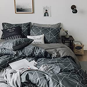 HIGHBUY Premium Cotton Full Bedding Sets Grey 3 Piece for Men Boys Geometric Duvet Cover Set Reversible Checkered Plaid Kids Comforter Cover Queen Hidden Zipper Lightweight Bedding Collection for Teen