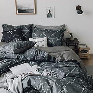 HIGHBUY Premium Cotton Full Bedding Sets Grey 3 Piece for Men Boys Geometric Duvet Cover Set Reversible Checkered Plaid Kids Comforter Cover Queen Hidden Zipper Lightweight Bedding Collection for Teen