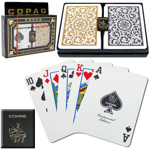 Index Poker Cards (Copag Poker Size Regular Index 1546 Playing Cards 2 decks (Black Gold Setup))