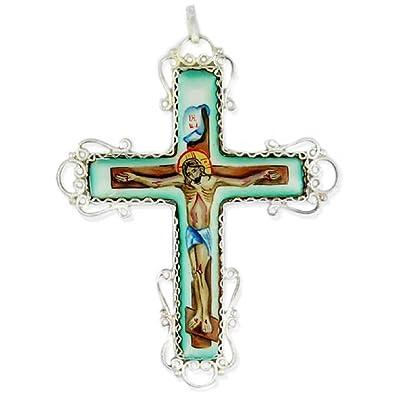 Religious Jewelry, Piedra Finift Crucifixion Crucifijo ...