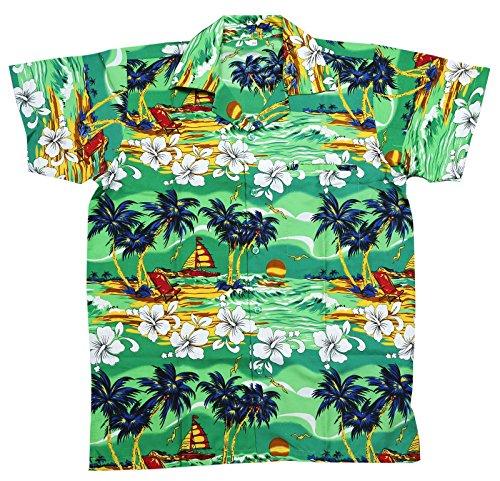 Camisa hawaiana para hombre, diseño floral de hibiscos, para la playa, fiestas, verano y vacaciones GREEN BOAT