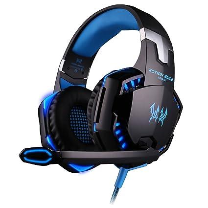 KingTop EACH G2000 Auriculares de diadema con micrófono estéreo Bajo luz LED para PC Portátil Juego, Azul y Negro