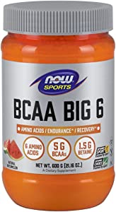 NOW Sports Nutrition, BCAA (Branched Chain Amino Acids) Big 6, Watermelon Flavor, 600 Grams
