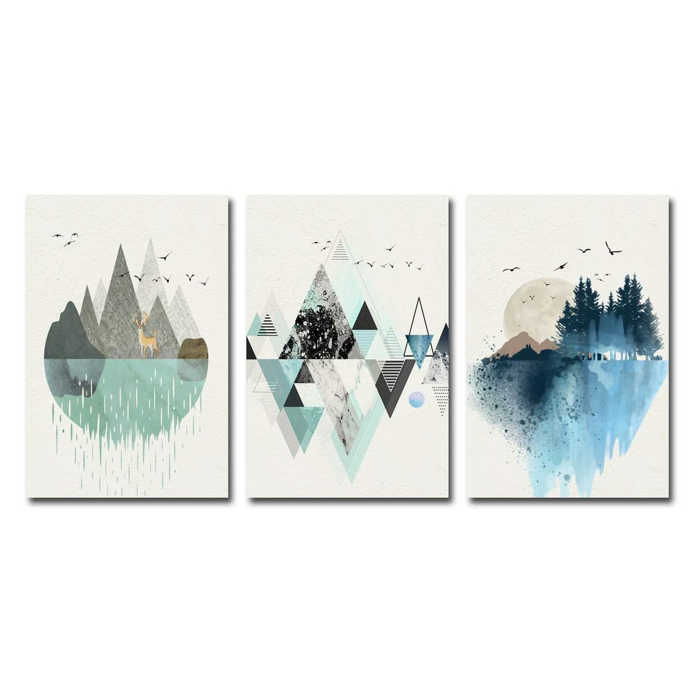 Floral Art Wall Art 3 Panels Abstract Mountain in Daytime Designs for Modern Home Decor Stretched and Framed Ready to Hang, 12x16inx3