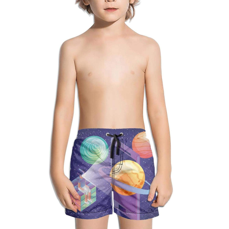Lenard Hughes Boys Quick Dry Beach Shorts with Pockets Gamer Sitting in Rubik Cube with vr Glasses Swim Trunks for Summer