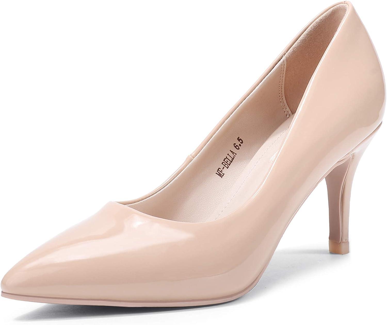 Mofri Women's Low Stiletto Heel Dress Office Pumps Pointed Toe Kitten Heels Wedding Pump Shoes